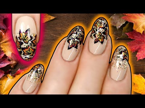 FALL LEAVES NAIL ART | Autumn Leaf Stamping Nails with Holo Gold Glitter