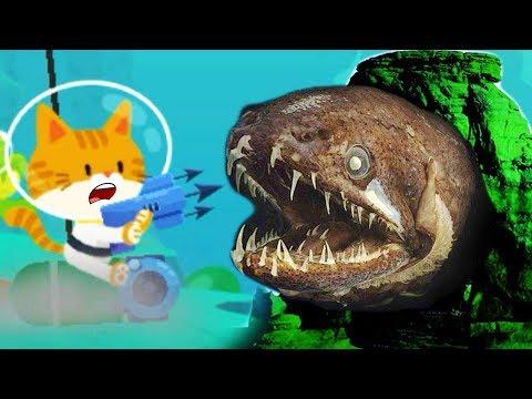 #2 ПОДВОДНЫЙ КОТЕНОК РЫБОЛОВ поймал очень много рыбы симулятор маленького котенка детский летсплей
