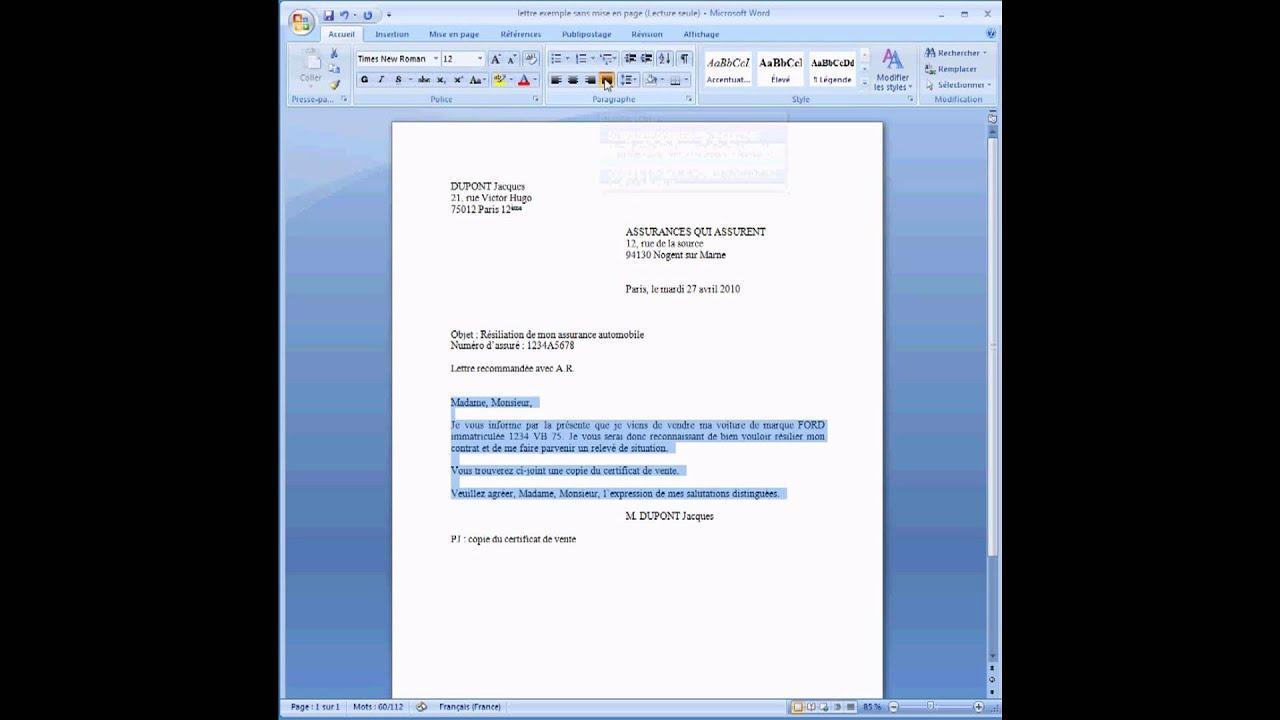 ecrire une lettre sous word 2007