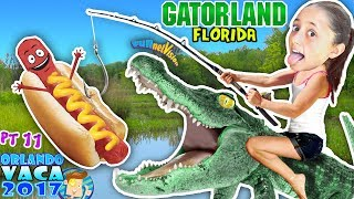 ALLIGATORS 😋 HOT DOGS! Wrestling & Feeding @ Gatorland Crocodiles FV DISNEY Summer #