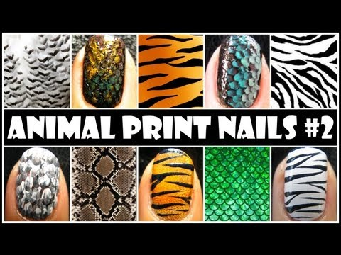 ANIMAL PRINT NAIL ART #2   EASY NAIL DESIGN TUTORIALS FOR BEGINNERS AT HOME DIY TIGER ZEBRA FEATHER