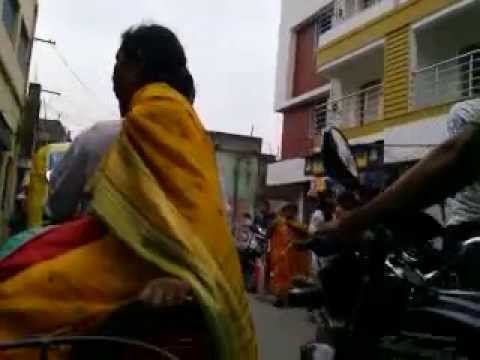 A Indian Girl In Traffic With Her Cycle video