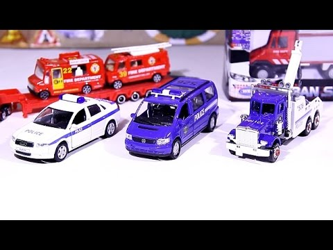 Cars for kids. Police cars, transporter, Fire trucks. Vehicles for boys Unboxing. Video for kids