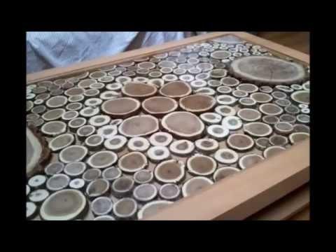 Mesa con tronquitos de madera youtube - Baul mesa de centro ...