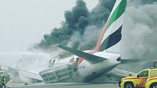 Emirates jet crash-lands in Dubai, engulfed in flames