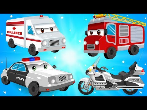 Fire Truck Police Cars Bike and Ambulance in Car Wash Garage - Kids Videos & Songs for Children