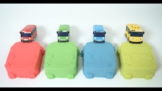 learn colors with tayo the little bus kinetic sand toys 타요 키네틱샌드 모래놀이