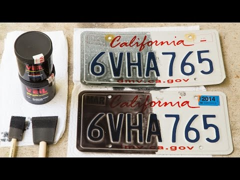Veil G4 & G5 being painted on a license plate