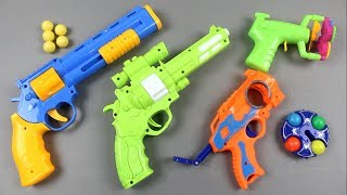 Box of Toys Many Colorful Toy Guns || Realistic Toy Gun & Equipment Videos & Learn Color