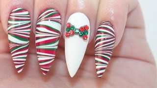 HOW TO: Christmas Water Marble On Acrylic Nails