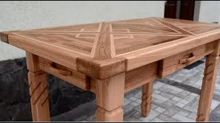 Oak and ash kitchen table with 4 drawers