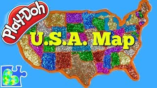 U.S. Map for Kids! Learn the United States of America! Play-Doh Puzzle of The U.S.A. || US Map