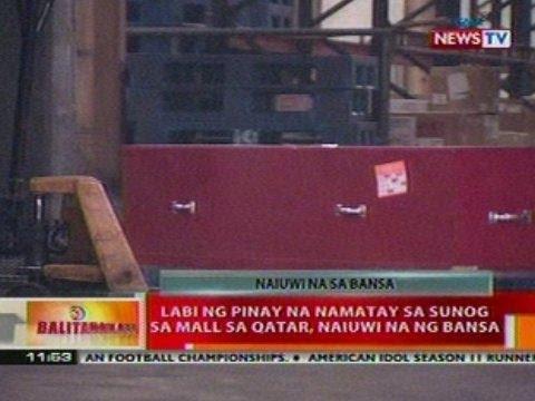 BT: Labi ng Pinay na namatay sa sunog sa   mall sa Qatar, naiuwi na ng bansa
