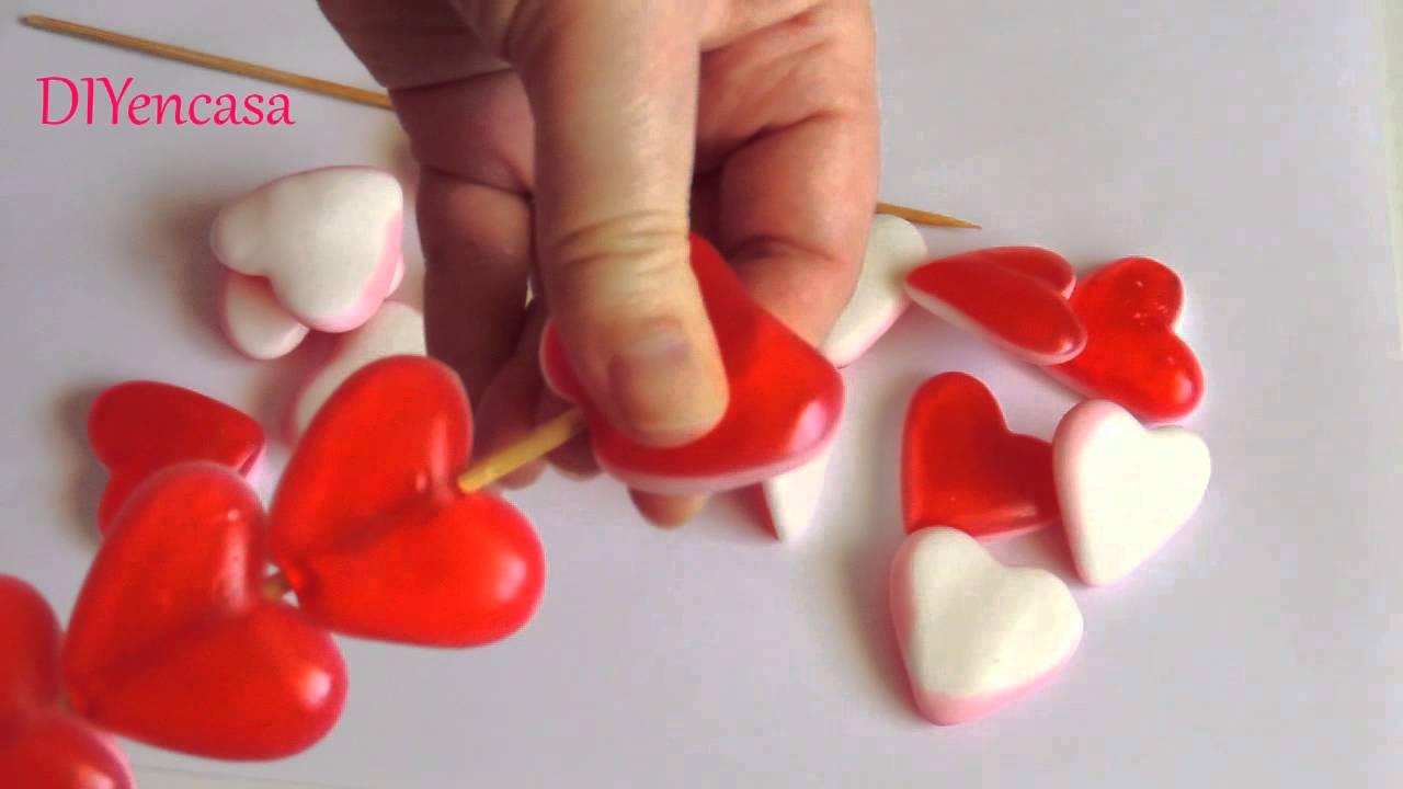 Diy ideas san valentin brocheta de corazones 14 de - Corazones de san valentin ...