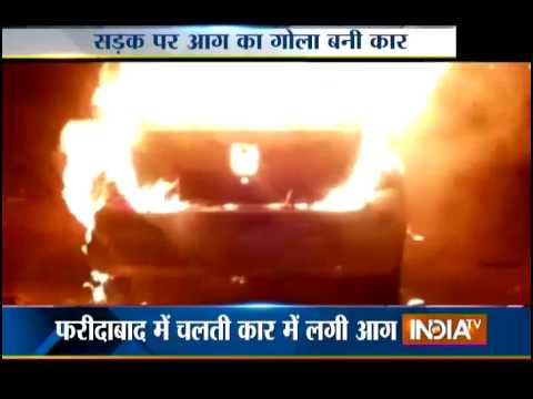 Car Catches Fire in Faridabad - India TV