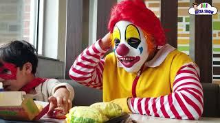 Ronald McDonald Surprise visit to McDonalds with Superman