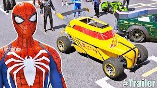 CARROS Hot Wheels com HOMEM ARANHA, POWER RANGERS e HERÓIS! Desafio Rampa no LAGO! (Trailer) GTA V