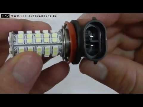 SMD LED žárovka s paticí H8 bílá. 68x tříčipová SMD LED. 12V