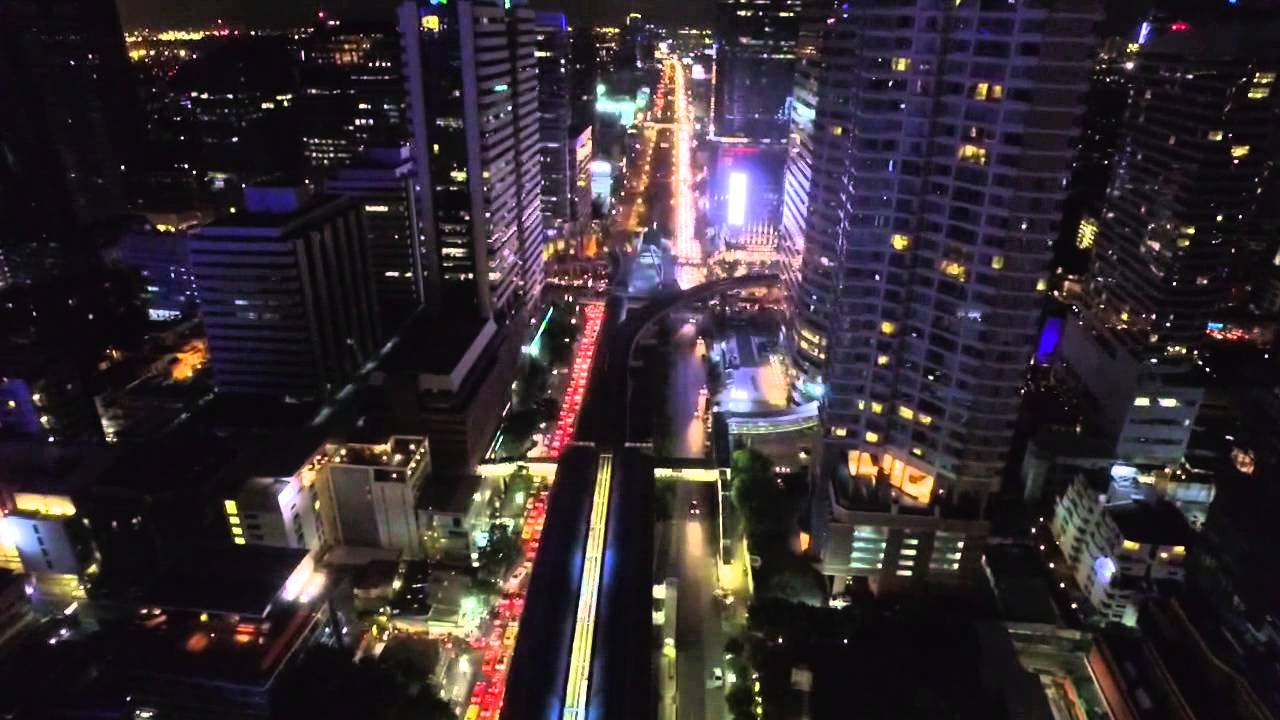 [Bangkok West Sathorn CBD Aerial View (Sunset-Night) with VTC...] Video