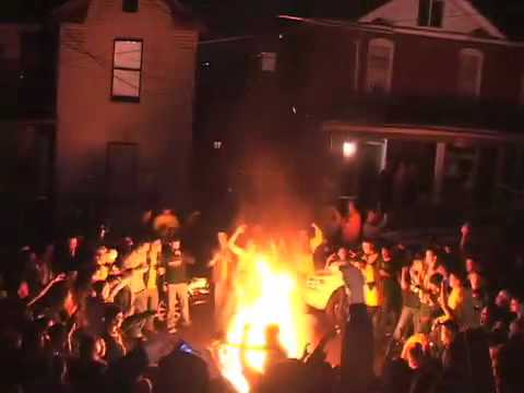 WVU Couch Burning Big East Basketball Champs Video