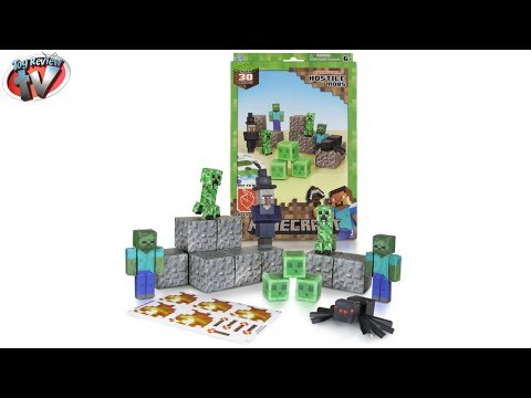 Minecraft: Overworld Hostile Mobs Pack Papercraft Toy Review. Jazwares