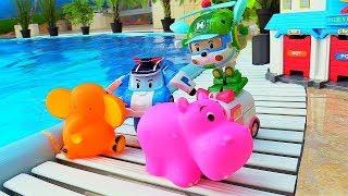 Cars videos. Robocar Poli rescues animals toys.