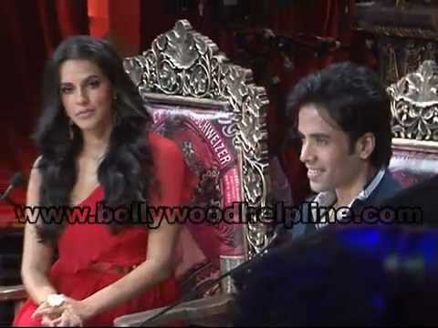 Neha Dhupia And Tusshar Kapoor on the sets of Nautanki - The Comedy Theater