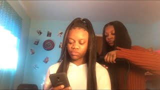HOW TO DO THE HALF UP HALF DOWN HAIRSTYLE W/ A SEW-IN