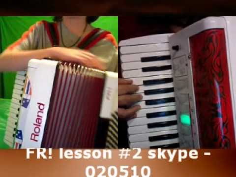 Roland FR1 accordion lesson 2 using Skype free video internet service