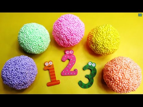 Learn numbers with Squishy Glitter Foam | Learn To Count with M&Ms | Surprise Eggs
