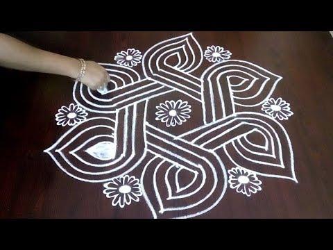 Latest New 5 x 3 Rangoli Kolam With Margazhi Design ||  Lines &  Flower  Muggulu || Fashion World