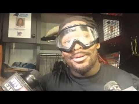 DeAngelo Williams talks in goggles