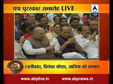 President Pranab Mukherjee presents Padma awards at the Rashtrapati Bhavan