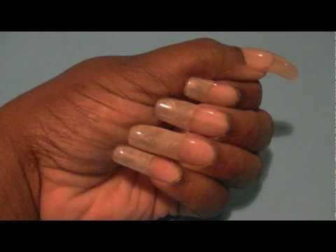 MY LONG NATURAL GEL NAILS NO COLOR POLISH !!!!