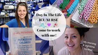 ICU Nurse Day in the Life | Come to work with me + my morning and night time routine!