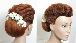 Beautiful Bun Hairstyle For Long Hair. Wedding Style