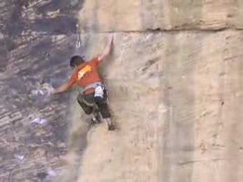 Zac Sands climbing No Redemption 5.13 Red River Gorge