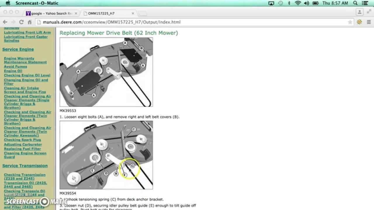 John Deere Z465 Mowing Belt