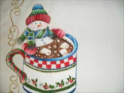 Individuales navide os pintados en gamuza y tela youtube - Cojines pintados en tela ...