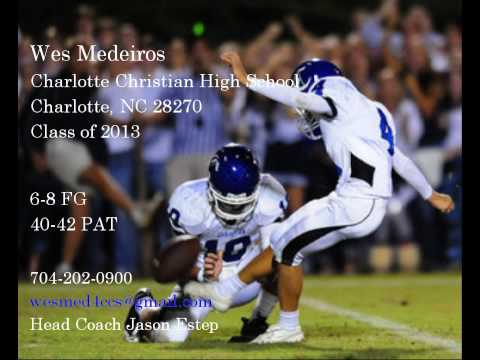 Wes Medeiros Charlotte Christian Freshman varsity kicker Class of 2013 highlights.