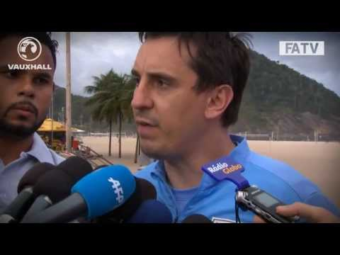 Gary Neville interviewed on Copacabana Beach ahead of England vs Brazil