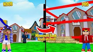 Minecraft Bank - NOOB VS. PRO MOST SECURE MINECRAFT BANK!!