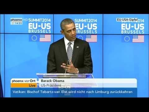 EU-USA-Gipfel - Abschluss-PK von Obama, Barroso & Van Rompuy am 26.03.2014