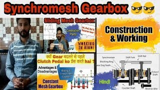 35) Synchromesh Gearbox ~ Hindi || Types of Gearbox - Construction & Working