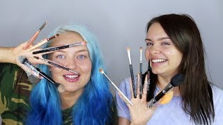doing our makeup with brushes taped to our fingers ft. Alycia Marie