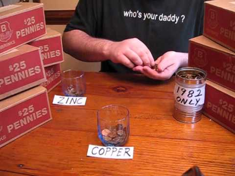 Hand sorting 1982 copper zinc pennies one cent penny youtube - Incredible uses for copper pennies ...
