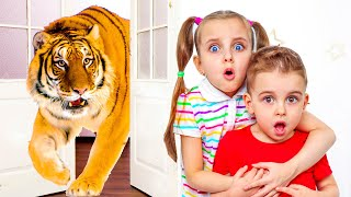 Adi and Alex have set up a home zoo Pretend play with Fursiki Show