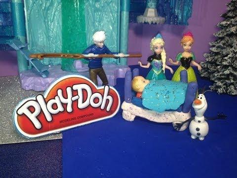 Play-Doh Disney Frozen How to Make a Play Doh Crib for Queen Elsa Baby