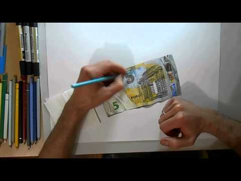 Drawing time lapse: 5 euro banknote - hyperrealistic art