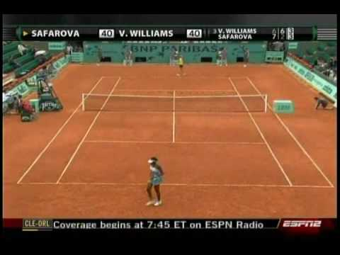 Venus Williams VS Lucie Safarova 6/10- French Open 2009- 2nd Round Video